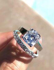 Ring Bridal Set 14K White Gold 1.72 Ct Solitaire Cushion Moissanite Engagement