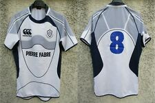 Maillot rugby CASTRES OLYMPIQUE porté n°8 CANTERBURY blanc match worn shirt XL