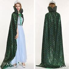 """Peacock - Emerald 71"""" Full Length Cloak Cape Sequin Satin Miss Beauty Pageant"""