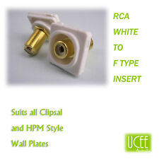 RCA - F Type White Audio Wall Plate Insert Fits CLIPSAL AND COMPATIBLE PLATES