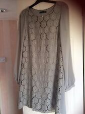 Atmosphere size 8 lined dress, long see through sleeves,lace front,cotton/other