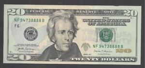 LUCKY $20 FEDERAL RESERVE NOTES 2017 ATLANTA (MF94738888B), UNC