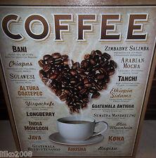 COFFEE BEAN HEART LARGE VINTAGE-STYLE METAL WALL SIGN, 40X30cm KONA/JAVA/TANCHI