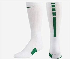 Nike Elite Basketball Socks LARGE (MENS MEDIUM 6-8) WHITE GREEN SX7626-104 NEW