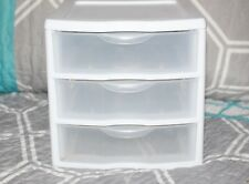 3 Drawer Tower Organizer Plastic Storage Cabinet Office Bin White Box AUC