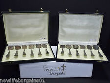 "2 sets of Vintage Argento 800 Spoons 256..7g (6) spoons in each Case 4.5"" & 5"""