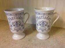 Set of Rare Blue Onion Footed Tall German Pharisaer Coffee Mugs Royal Onion Rum