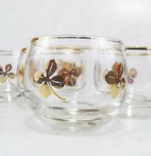 4 Vintage Lucky Clover Shamrock 22k Roly Poly Tumblers Rocks Glasses Small 3 Oz.