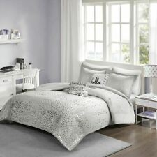 Luxury Grey & Metallic Silver Reversible Comforter Set AND Decorative Pillows