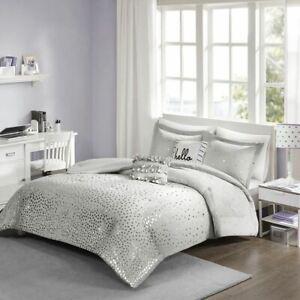 Luxury Grey & Metallic Silver Reversible Comforter Set AND Decorative Pillows