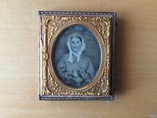 RARE VINTAGE TEXTILE HOBBY LADY Woman Holding Crochet Hook Ambrotype Sixth Plate