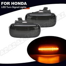 2x Amber Led Side Marker Light Smoked For Honda Civic Cr V Acura Rsx Integra Fit