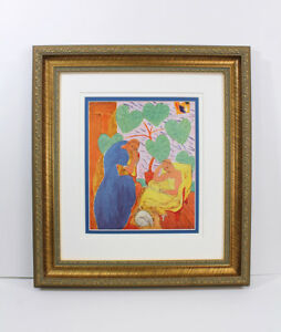 """LOOK 1938 Henri MATISSE Antique Color Print """"Au Conservatoire"""" SIGNED Framed COA"""