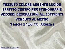 TESSUTO ARGENTO CRESPO ALLESTIMENTO SCENOGRAFIE NATALE CAPODANNO mt.1 x mt.1,5