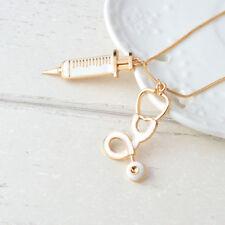 New Medical Stethoscope Syringe Pendant Necklace Women Gift For Nurse Doctor