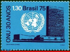 1422 BRAZIL 1975 UNITED NATIONS, 30TH ANNIV., EMBLEM, MI# 1518 RHM C-920, MNH