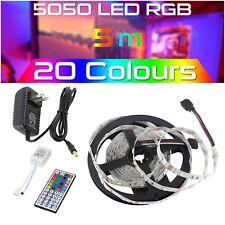 5M 5050 RGB SMD Flexible LED Strip Lights Lamp+44Key Remote+12V Power Supply