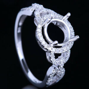 Sterling Silver 925 Round Natural Diamonds Semi Mount Halo Engagement Fine Ring