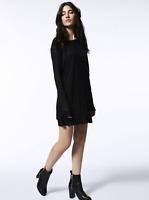 Diesel D-IND Dress Black Long Sleeve Layered Hem Black $178 NWT