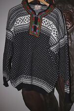 DALE OF NORWAY Setesdal Pewter Half Clasp Wool Nordic Sweater Unisex Men L Black