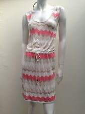 Forever New sz 12 Peach White & Gold Knit Dress AS NEW