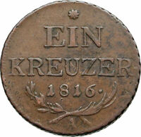1816 AUSTRIA Emperor FRANZ Francis II OLD Antique 1 Kreuzer Austrian Coin i87354