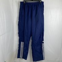 Vintage Adidas Striped Windbreaker Track Pants Mens XL Navy Blue Snap Buttons