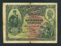 Spain:P-65a,500 Pesetas,1907 * Rare Type * F-VF *