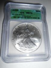 2000 SILVER EAGLE MS 70 LOW POP OF ONLY 100 ICG IN MS 70 A $10,000 COIN PCGS
