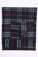 GENUINE BURBERRY 100% CASHMERE BLUE CHECK VINTAGE SCARF MADE IN ENGLAND