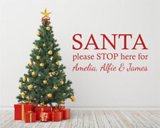 """Personalised Christmas Wall Sticker """"Santa Please Stop Here For.."""" Vinyl Decal"""