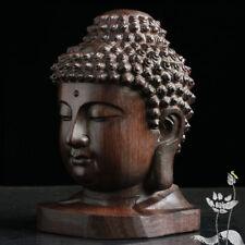 6cm Buddha Sculpture Wood Sakyamuni Figurine India Mahogany Head Statue Craft