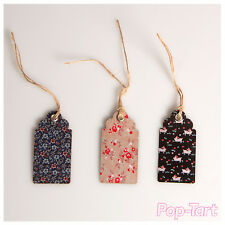 15 x Natural Rabbit Floral Vintage Chic Paper Gift Tags Craft Labels + String