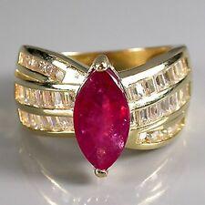 Anneau Avec Zircon Mm4 Central Couleur Rubis Entouré De Zircone Cubique Fine Jewelry