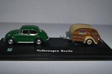 Hongwell Modellauto 1:72 Volkswagen Beetle mit Wohnwagen