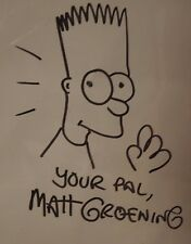 Original Matt Groening Hand Drawn BART SIMPSON Early SIMPSONS POSTER signed x3