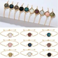 Charm Round Crystal Cluster Simple Geometric Bracelet Women Bangle Chain Jewelry