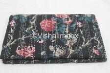 Cotton Kantha Quilt Hand Block Print Floral Vintage Bedspread Throw Gudari Queen