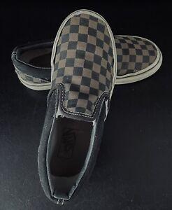 Vans Black Brown Checkerboard Check Slip On Trainers Size Uk Kids 13 EUR 31
