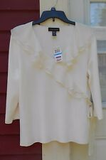 CABLE & GAUGE NWT Winter White 3/4 Sleeve Ruffled V Neck Faux Wrap Sweater XL