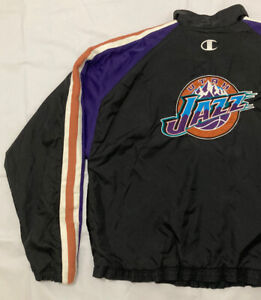 Champion NBA UTAH JAZZ vintage warm-up Jacket black/mountain logo men's size L