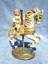 Vintage Willitts Designs Porcelain on Brass Carousel Horse/Boy Figurine (1986)