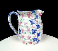 "SUSAN LEADER SIGNED ART POTTERY BLUE CHECKS & HEARTS 6.5"" SPONGEWARE PITCHER"