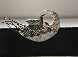 WHIMSICAL CYNTHIA CHUANG JEWELRY 10 PORCELAIN LARGE SWAN PIN BROOCH