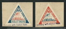 1936 US rocket mail triangle stamps on piece - New York IPEX