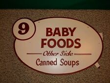 Vintage 60s/70s Hand Painted Retail Grocery Store Sign,Baby Foods,Soups,Masonite