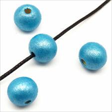 Lot de 50 Perles Rondes en Bois 10mm Bleu Turquoise