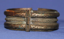Antique Hinged Cuff Bangle Silver Plated Bracelet