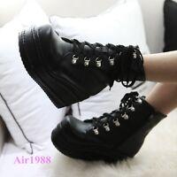 Fashion Women's Punk Boots Platform Lace up Creepers Gothic Shoes Ankle Boots AU