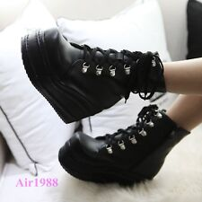 Fashion Women's Punk Boots Platform Lace up Creepers Gothic Shoes Ankle Boots AU